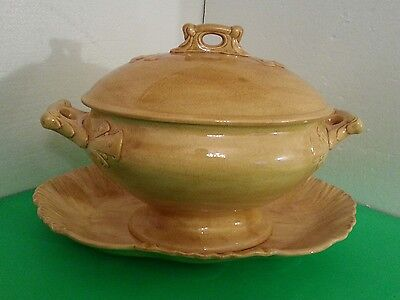 Vintage Handcrafted Gold Soup Tureen and Platter