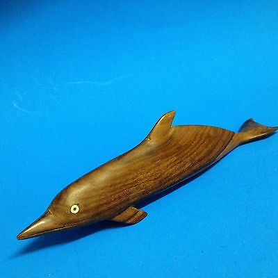 Pacific - Teak Wood 24cm Dolphin w Shell Eyes  Carving - Ornament Figurine