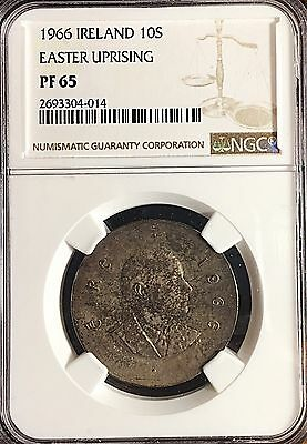 Ireland 1966 Silver PROOF 10 Shillings NGC Certified Original Toned Surfaces