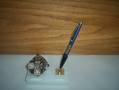 1976 Canada Penny 1 Cent Coin Paperweight & Pen Holder by Unique Canada