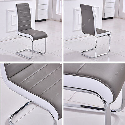 Gizza 2/4/6 Pcs Dining Chairs Modern Artificial Leather Grey White Metal Legs