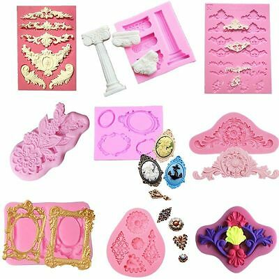 13 Styles Silicone Mould European Relief Baroque Flower Scroll Wedding Border