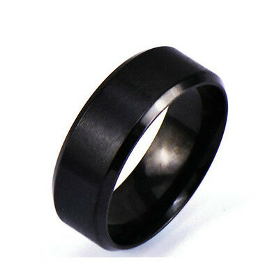8mm Black 316L Stainless Steel Ring Men/Women's Wedding Band Jewelry Size 6-12