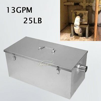 25LB 13GPM Gallons Per Minute Kitchen Grease Trap Stainless Steel Interceptor