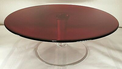 "Ruby Red 13"" Glass Cake Stand EXC UNUSED CONDITION"