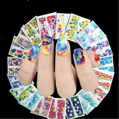 mixed designs 50 sheets lot water transfer nail art decorations stickers decals