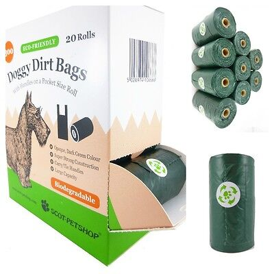 Scot Petshop Eco Dog Waste Bags On A Roll With Easy Tie Handles - 300 Poo Bags