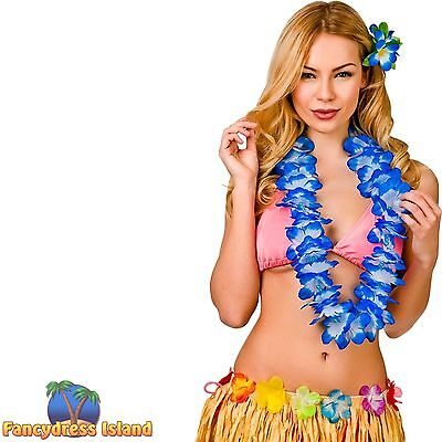 HAWAIIAN HULA GIRL DELUXE BLUE FLOWER LEI One Size FAST POST Womens Fancy Dress