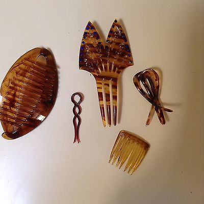 Lot Of 5 Vintage Hair Accessories In Faux Tortiseshell