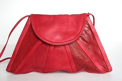 Vintage Red Leather Disco Triangular Shoulder Bag - 1980s - Small