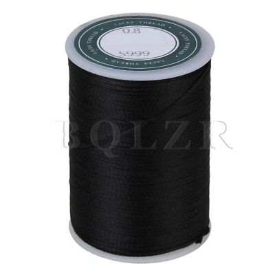 78M 0.8MM Black Flat Waxed Polyester Thread Cord for Handcraft Leather