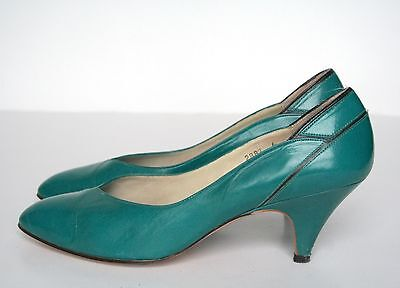 UK 5.5 / 6 Jacques Vert Teal Green Leather Shoes - 1980s - 38.5 / 39