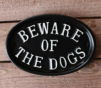 Large Beware Of The Dogs Sign Warning Black Cast Antique Style Garden Warn-07-bl