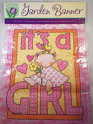 """Garden Banner Outdoor Mini Flag IT'S A GIRL; 11"""" by 14"""" inches baby pink; NIP"""
