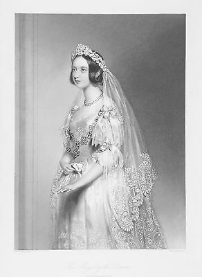 OLD ANTIQUE PRINT QUEEN VICTORIA IN WEDDING DRESS PORTRAIT c1860's ENGRAVING