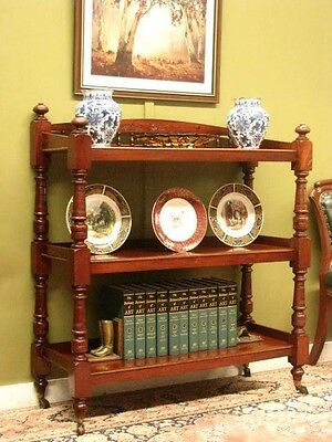 ANTIQUE AUSTRALIAN CEDAR 3 TIER DISPLAY STAND SIDE / HALL TABLE / SHELVES c1900s