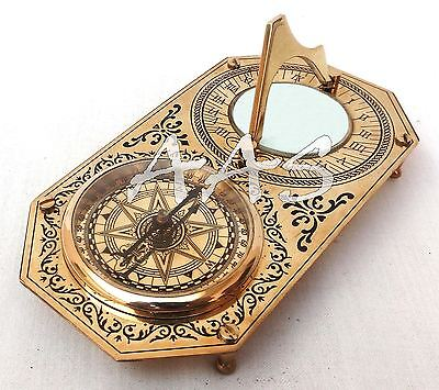Rectangle Brass Garden Sundial & Compass Nautical Maritime Navigation Astrolabe