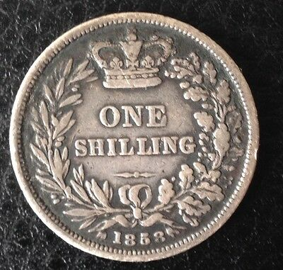 1858 Queen Victoria Young Head Silver Shilling