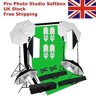 4 x 135W Photo Studio Continuous Lighting kit Softbox Boom Arm 3Backdrop & Stand
