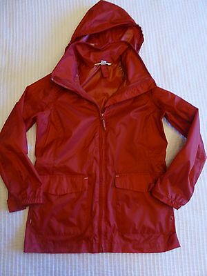 Lands' End Kids Red Hooded Zip Front Nylon Rain Jacket Size S 7-8
