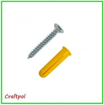 Yellow Wall Plug and BZP Twinthread Screw - choice of quantity