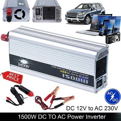 1500W Auto Inverter Car DC 12V to AC 220V Modified Power Converter Sine Wave USB