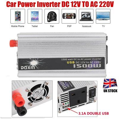 Auto Inverter Car 1500W  DC 12V to AC 220V Modified Power Converter Sine Wave UK
