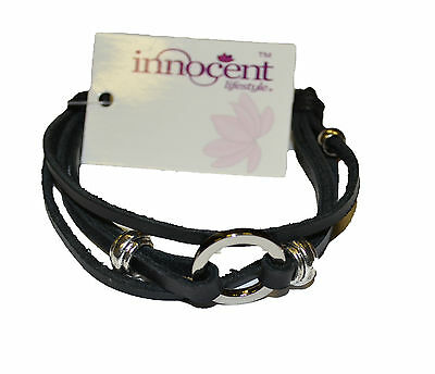 Innocent Lifestyle Disc Leather Wristband Ladies Black Modest Party Jewellery