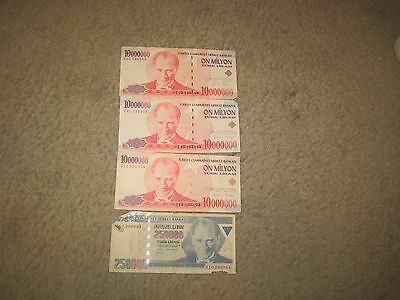 On Million Turkey Turkish Lira Banknote Money  1970