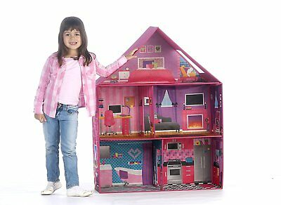 MODERN PINK BARBIE Doll Dream House Play Home Room Girls Toy House Miniature