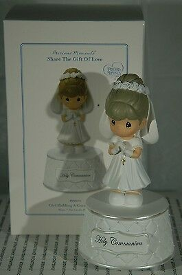 Girl Holding A Cross Musical Precious Moments~Dark Hair New~Free Shipping In Us~