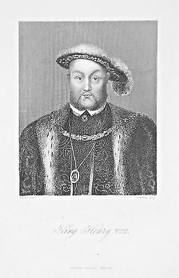 OLD ANTIQUE PRINT KING HENRY VIII ENGLAND PORTRAIT c1850's ENGRAVING