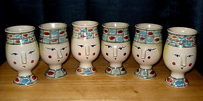Six Bjorn Wiinblad Inspired Fitz and Floyd Figural Face Head Mugs Cups
