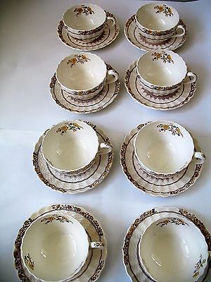 COPELAND SPODE BUTTERCUP PATTERN, Eight (8) Flat Cups and Saucer Sets