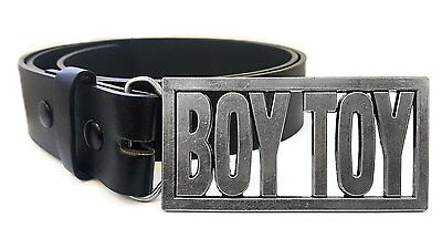 Boy Toy Belt Buckle with Leather Belt (Medium 32-36 inches, Black)