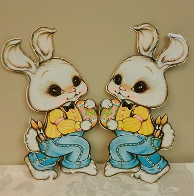 Vintage 1981 Beistle EASTER BUNNY Die Cut Out with Moveable Legs - Set of 2