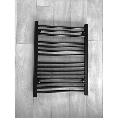 600mm Wide Gas | Electric Heated Designer Straight Black Towel Rail Radiator UK