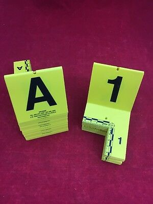 EVI-PAQ Standard ID Tents 46pcs. A-Z & 1-20 Yellow w/Cut Out Angle Crime Scene