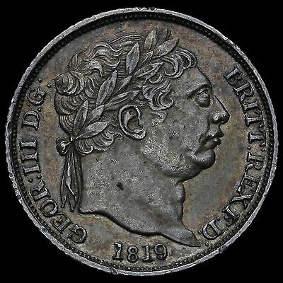 1819 George III Milled Silver Sixpence, Scarce