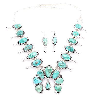 Navajo Sterling Silver Carico Lake Squash Blossom Necklace Set- Mary Ann Spencer