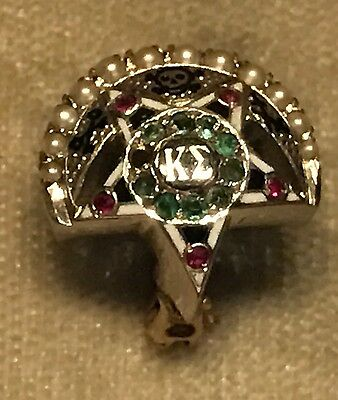 1931 Kappa Sigma Fraternity Pin - White Gold - 10K - Emeralds / Rubies / Pearls