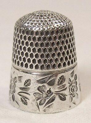Antique Stern Brothers Sterling Silver Thimble  Stylized Bees & Floral Pattern