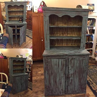 Primitive Step Back Cupboard, 19th Century, Cabinet, Shelves, Antique, Farm