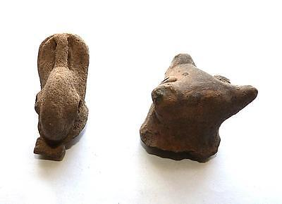 2 Pre Columbian West Mexican  Figural Votive Pottery Heads - Dog & Duck