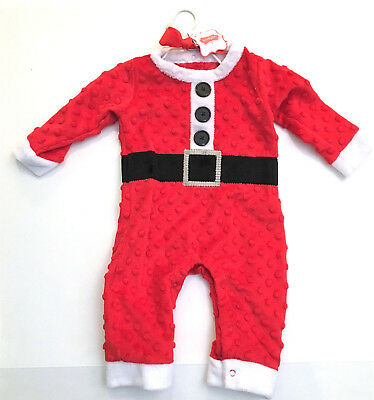 NWT Mud Pie Santa Dot Suit Baby Boy Size 0-6 Months Minky Red White MSRP $37.50