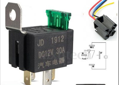 12V 30A Relay With 30A Fuse 4-Pin SPST With Harness
