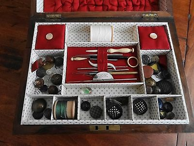 Victorian Sewing/writing Box With Sewing Contents.
