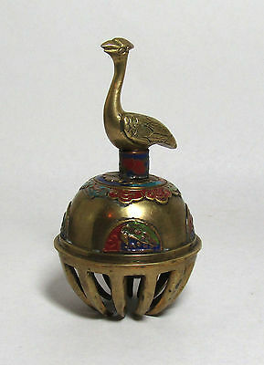 ANTIQUE CHINESE CHAMPLEVE ENAMEL BELL brass figural bird handle unusual old