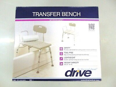 Drive Medical Three Piece Transfer Bench, Mobility Furniture, Gray