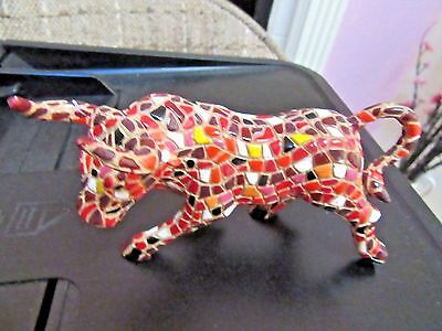 Cplorful Mosaic Bull Red, White  red and brown